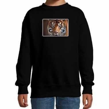 Dieren sweater / trui tijgers foto zwart kinderen beeldje kopen
