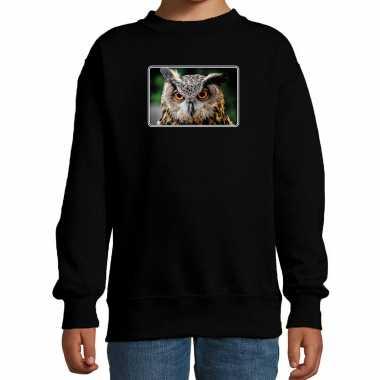 Dieren sweater / trui uilen foto zwart kinderen beeldje kopen