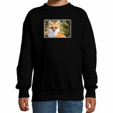 Dieren sweater / trui vossen foto zwart kinderen beeldje kopen