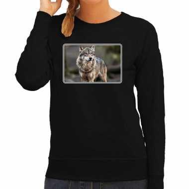 Dieren sweater / trui wolven foto zwart dames beeldje kopen