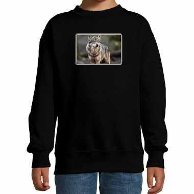 Dieren sweater / trui wolven foto zwart kinderen beeldje kopen