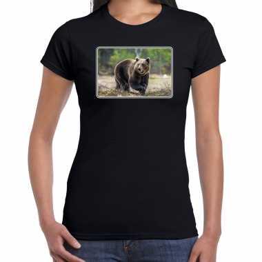 Dieren t shirt beren foto zwart dames beeldje kopen