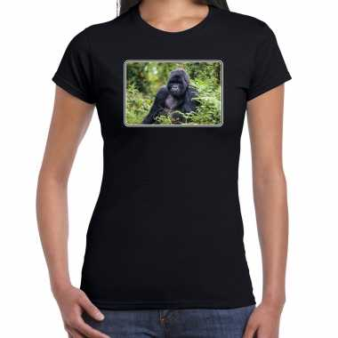 Dieren t shirt gorilla apen foto zwart dames beeldje kopen