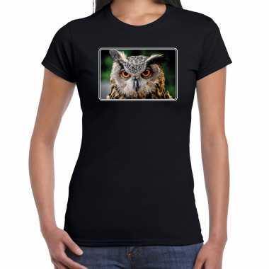 Dieren t shirt uilen foto zwart dames beeldje kopen