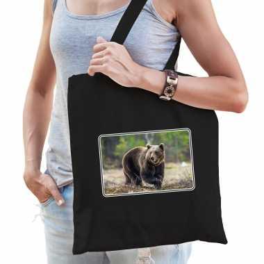 Dieren tas katoen beren foto zwart volwassenen beeldje kopen