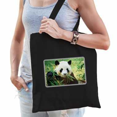 Dieren tas katoen pandaberen foto zwart volwassenen beeldje kopen
