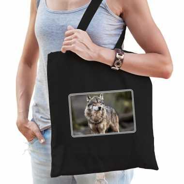 Dieren tas katoen wolven foto zwart volwassenen beeldje kopen