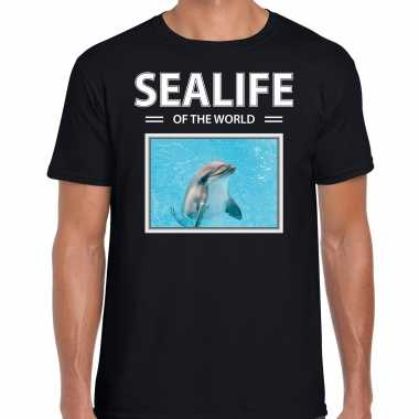 Dolfijn t shirt dieren foto sealife of the world zwart heren beeldje kopen