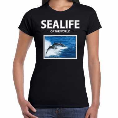 Dolfijnen t shirt dieren foto sealife of the world zwart dames beeldje kopen