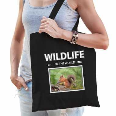 Eekhoorn tasje zwart volwassenen kinderen wildlife of the world kado boodschappen tas beeldje kopen