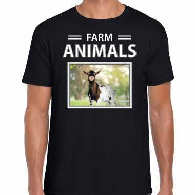 Geiten t shirt dieren foto farm animals zwart heren beeldje kopen