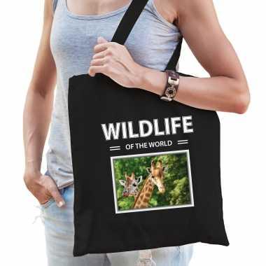Giraf tasje zwart volwassenen kinderen wildlife of the world kado boodschappen tas beeldje kopen