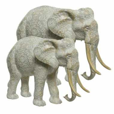 Grijze decoratie set olifanten dierenbeelden beeldje kopen