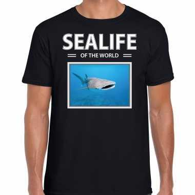 Haaien t shirt dieren foto sealife of the world zwart heren beeldje kopen