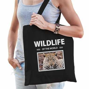 Jaguar tasje zwart volwassenen kinderen wildlife of the world kado boodschappen tas beeldje kopen