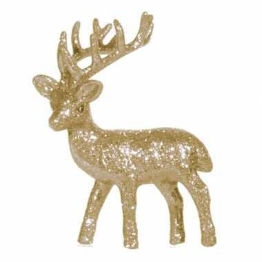 Kerstdecoratie goud glitter rendieren decoraties beeldje kopen