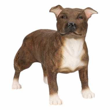 Kleine beeldje Staff Bull Terrier bruin kopen