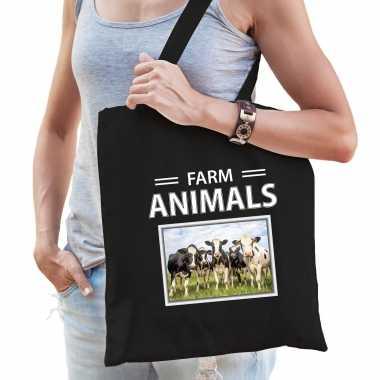 Koe tasje zwart volwassenen kinderen farm animals kado boodschappen tas beeldje kopen
