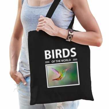 Kolibrie vogel tasje zwart volwassenen kinderen birds of the world kado boodschappen tas beeldje kopen