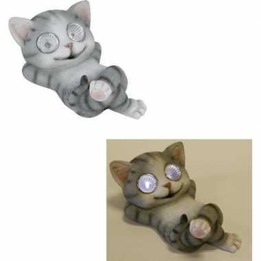 Led solar decoratie dieren beeld grijze poes/kat beeldje kopen