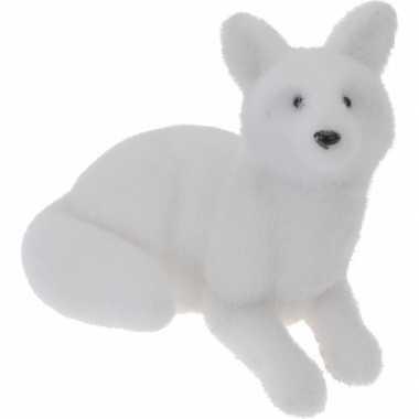 Liggende poolvos decoratie wit beeldje kopen