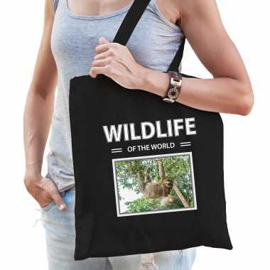Luiaard tasje zwart volwassenen kinderen wildlife of the world kado boodschappen tas beeldje kopen