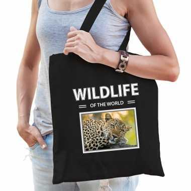 Luipaard tasje zwart volwassenen kinderen wildlife of the world kado boodschappen tas beeldje kopen