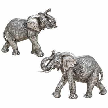Set stuks olifanten woondecoratie dieren beeldjes zilver kopen 10268582