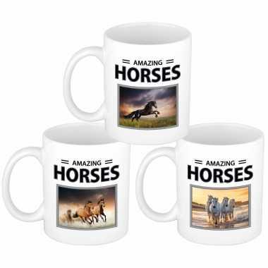 Set stuks paarden thema drink mokken dieren foto print amazing horses beeldje kopen