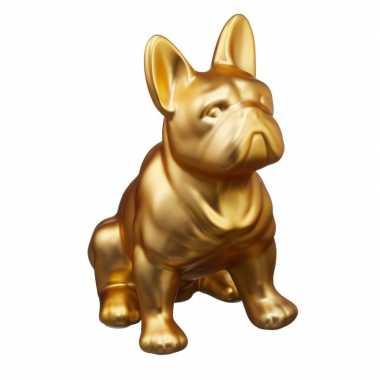 Spaarpot dierenbeeldje franse bulldog goud kopen