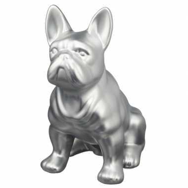 Spaarpot dierenbeeldje franse bulldog zilver kopen