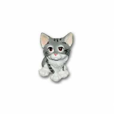 Stenen kat zittend grijs beeldje kopen