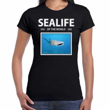 Tijgerhaaien t shirt dieren foto sealife of the world zwart dames beeldje kopen