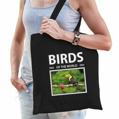 Toekan vogel tasje zwart volwassenen kinderen birds of the world kado boodschappen tas beeldje kopen