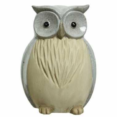 Uil/uilen dieren tuinbeeld grijs , terracotta beeldje kopen