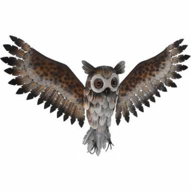 Uil/uilen tuin/muur decoratie/hanger metaal beeldje kopen