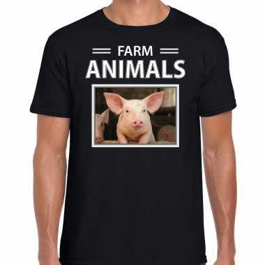 Varkens t shirt dieren foto farm animals zwart heren beeldje kopen