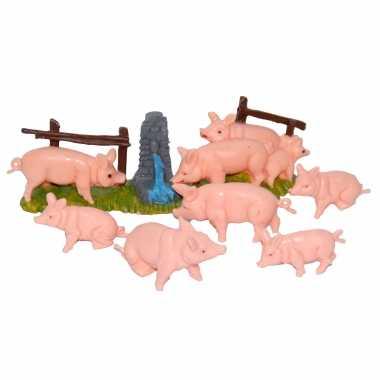 X varkens / biggetjes miniatuur beeldjes kerststal beeldjes kopen