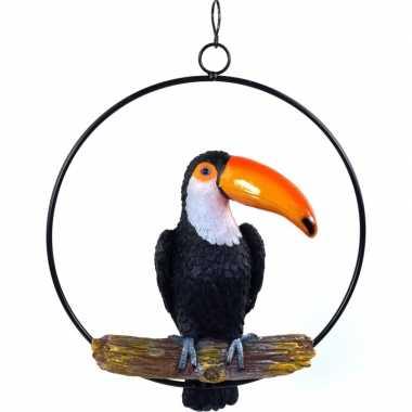 Zwarte decoratie toekans dierenbeelden/tuinbeelden beeldje kopen