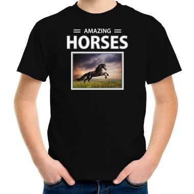 Zwarte paarden t shirt dieren foto amazing horses zwart kinderen beeldje kopen