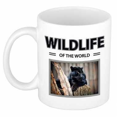 Zwarte panter mok dieren foto wildlife of the world beeldje kopen