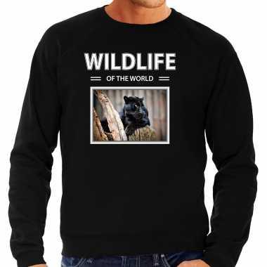 Zwarte panter sweater / trui dieren foto wildlife of the world zwart heren beeldje kopen