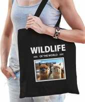Alpaca tasje zwart volwassenen kinderen wildlife of the world kado boodschappen tas beeldje kopen