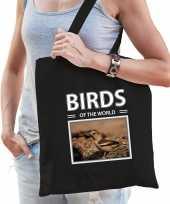Appelvink vogel tasje zwart volwassenen kinderen birds of the world kado boodschappen tas beeldje kopen
