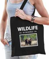 Beer tasje zwart volwassenen kinderen wildlife of the world kado boodschappen tas beeldje kopen