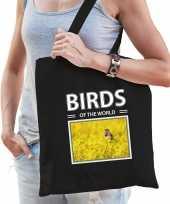 Blauwborst vogel tasje zwart volwassenen kinderen birds of the world kado boodschappen tas beeldje kopen
