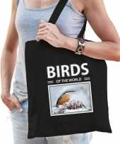 Boomklever tasje zwart volwassenen kinderen birds of the world kado boodschappen tas beeldje kopen