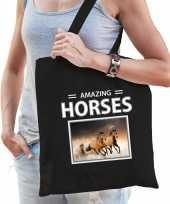 Bruine paarden tasje zwart volwassenen kinderen amazing horses kado boodschappen tas beeldje kopen