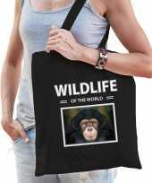 Chimpansee aap tasje zwart volwassenen kinderen wildlife of the world kado boodschappen tas beeldje kopen 10265455