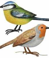 Decoratie vogels muurvogels roodborstje pimpelmees tuin beeldje kopen